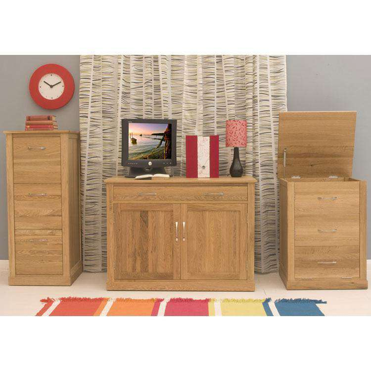 image of the baumhaus mobel oak desk height printer cupboard cor07c shown with other
