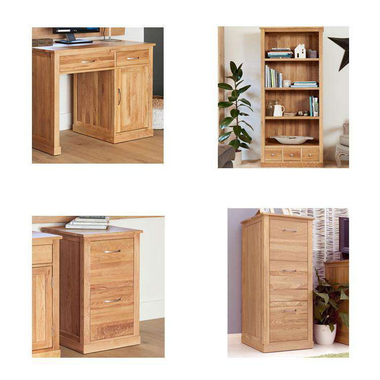 image showing all products included in the baumhaus mobel oak single pedestal office package