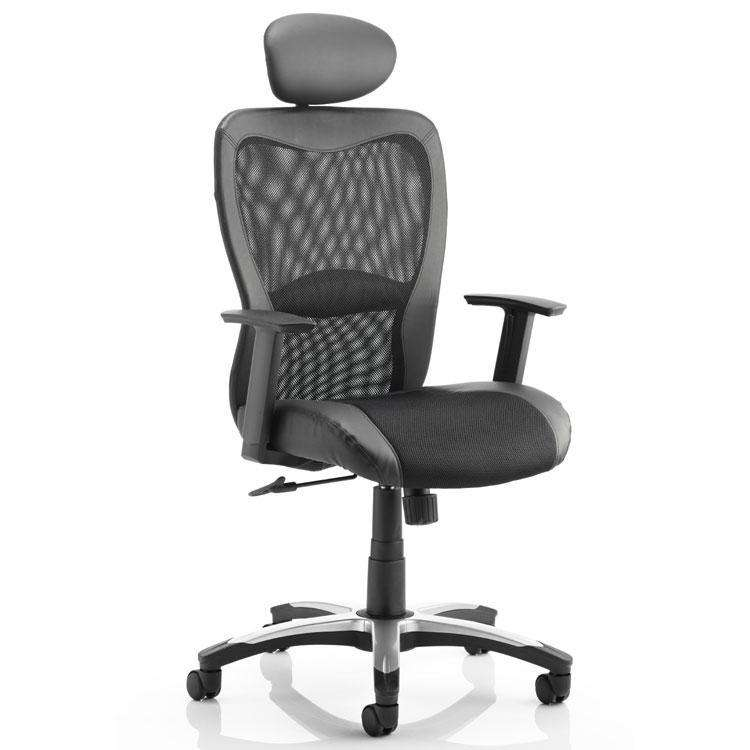 Dynamic Victor II Executive Mesh and Leather Office Chair with Headrest