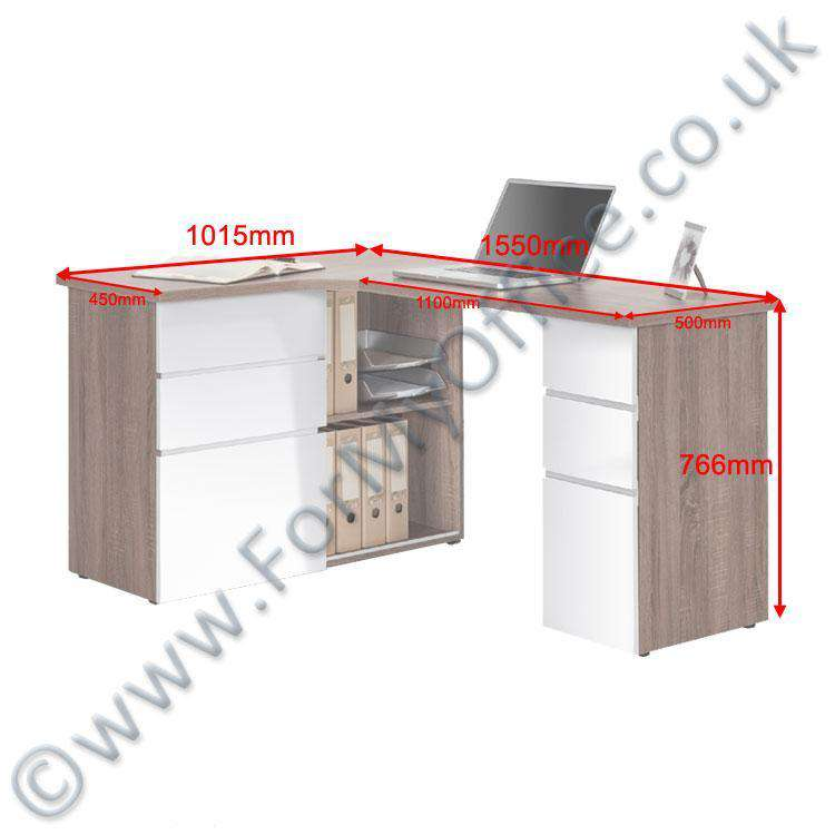 Maja Oxford Corner Office Desk In Truffle Oak And High Gloss White