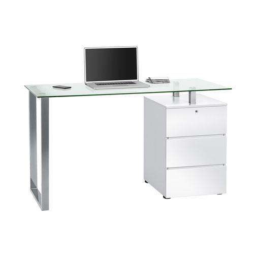 Maja Richmond Office Desk in Chrome, Clear Glass and High Gloss White (9550 9856)