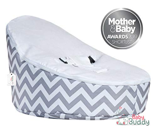 Baby Bean Bag Bouncer Chair by Baby Buddy Toys | Pre Filled Snuggle Bed with 2 Removable Covers & Harness - Grey & White for Kids Children Infants Newborn Unisex Boys & Girls: Amazon.co.uk: Baby