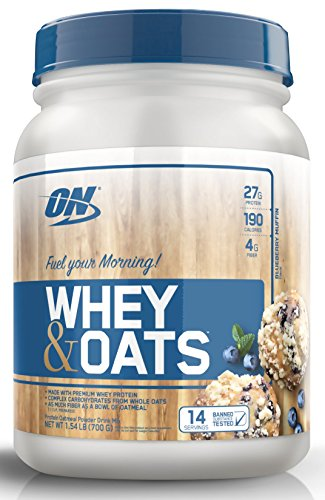 Optimum Nutrition Whey & Oats Protein Powder, Breakfast or Anytime High Protein and High Fiber Shake, Blueberry Muffin, 14 Servings: Gateway