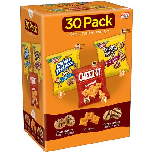 Keebler Chips Deluxe Minis/Cheez-It Baked Snack Crackers/Fudge Stripes Minis Variety Pack 30 CtKeebler Chips Deluxe Minis/Cheez-It Baked Snack Crackers/Fudge Stripes Minis Variety Pack 30 Ct