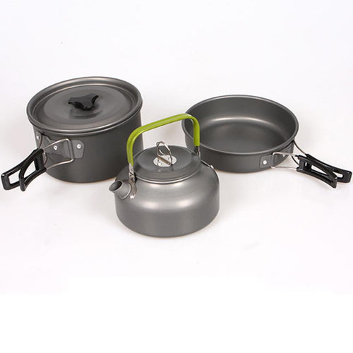1set Aluminum High Quality Outdoor Cookware Set Picnic Cookware Cook Cooking Pot teapot #FC28
