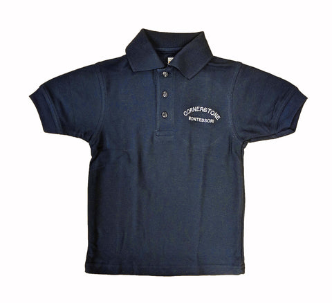 Navy Short Sleeve Golf Shirt - Adult - Cornerstone Montessori