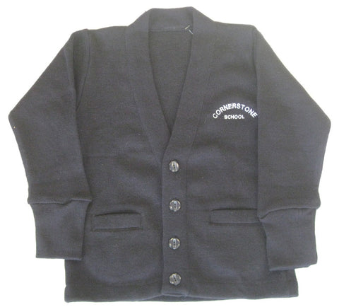 Navy Cardigan - Adult - Cornerstone Montessori