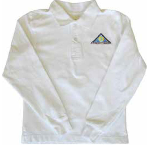 White Long Sleeve Golf Shirt - Youth - Global Montessori