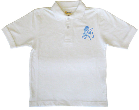 White Short Sleeve Golf Shirt - Youth - Cloverdale Traditional