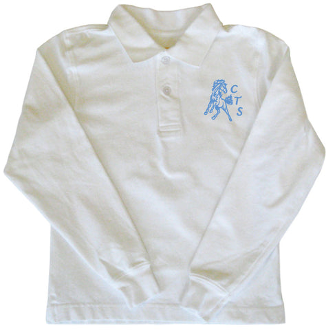 Golf Shirt Long Sleeves - White - Youth