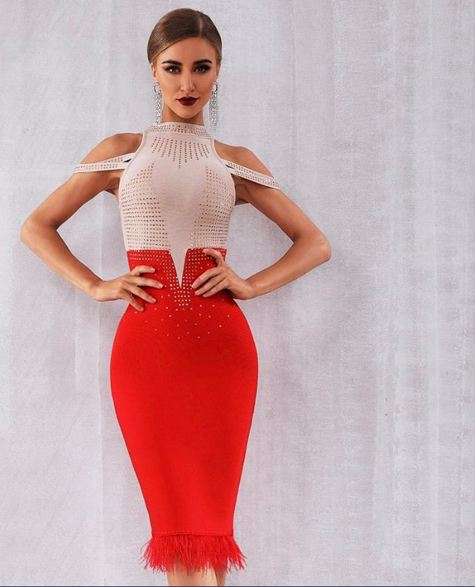 Glam Off Shoulder Bodycon Dress - Lady Galore