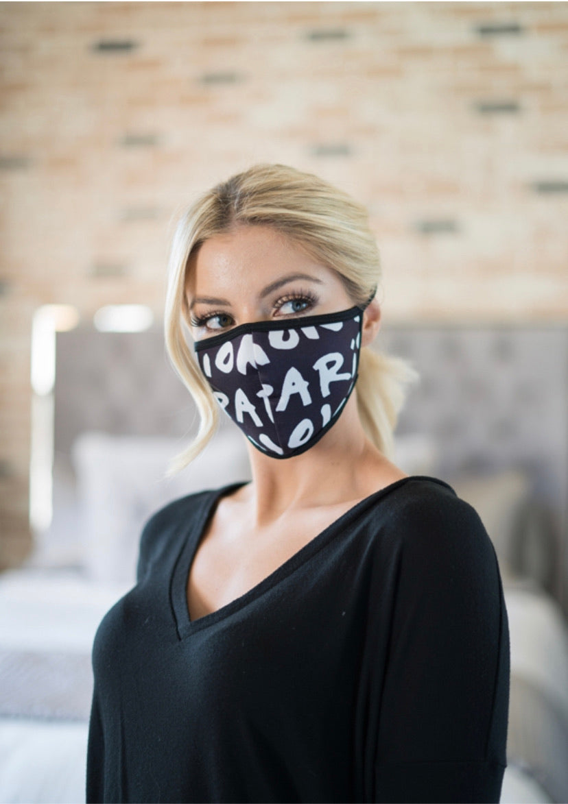 Letter Printed Face Mask - Lady Galore