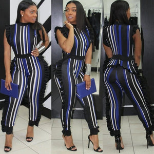 Striped Ruffle Jumpsuit - Lady Galore