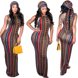 Boho Style Dress w/ Head Scarf - Lady Galore