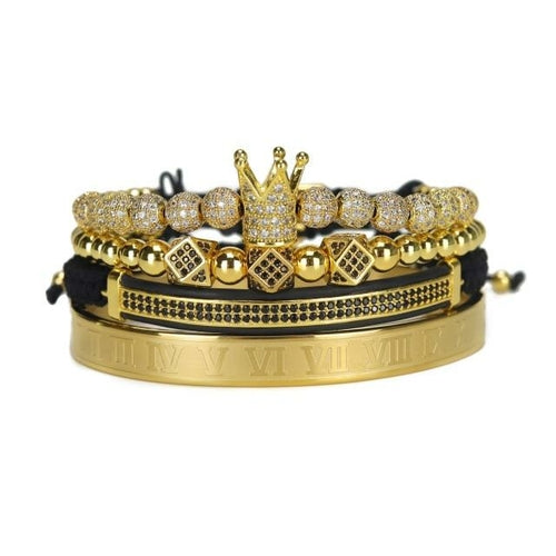 Stainless Steel Crown Bracelet Set - Lady Galore
