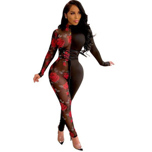 Rose Sheer Jumpsuit - Lady Galore