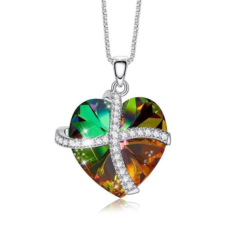 Rainbow Pave Heart Ribbon Necklace - Lady Galore