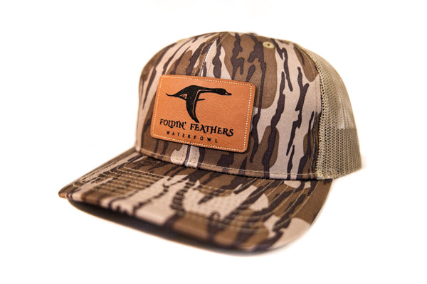 Mossy Oak Bottomland/Loden Leather Patch Hat