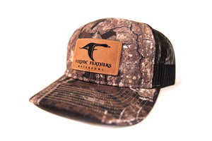 Realtree Timber/Black Leather Patch Hat