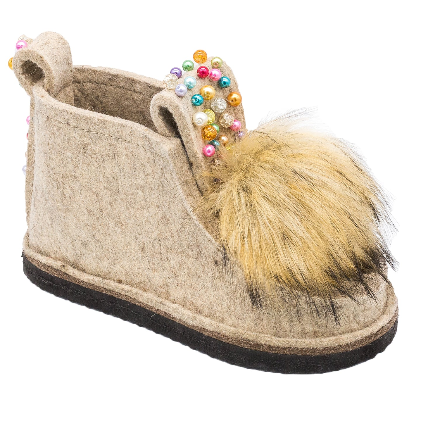 Decorated Classic Boot with Pom-Pom