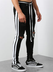 The Double Striped Track Jeans in Black