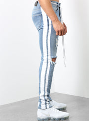 The Double Striped Track Jeans V2 in Blue and White