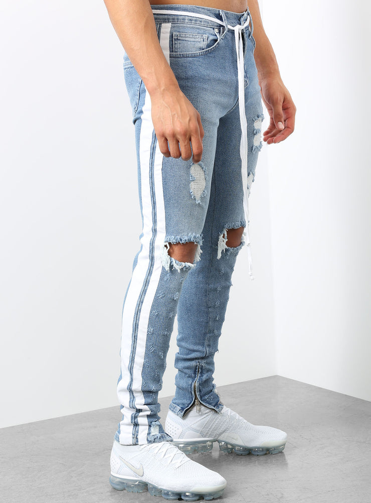 Double Striped Track Jeans V2 in Blue and White