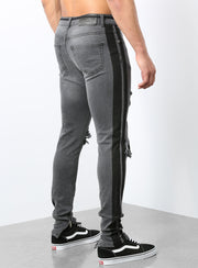 The Double Striped Track Jeans in Grey and Black