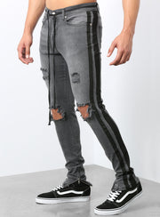 The Double Striped Track Jeans in Grey