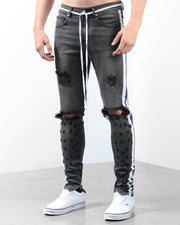 The Double Striped Track Jeans V2 in Dark Grey