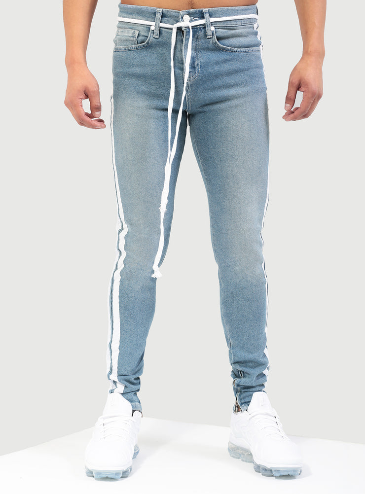 Double Striped Track Jeans V1 in Blue and White