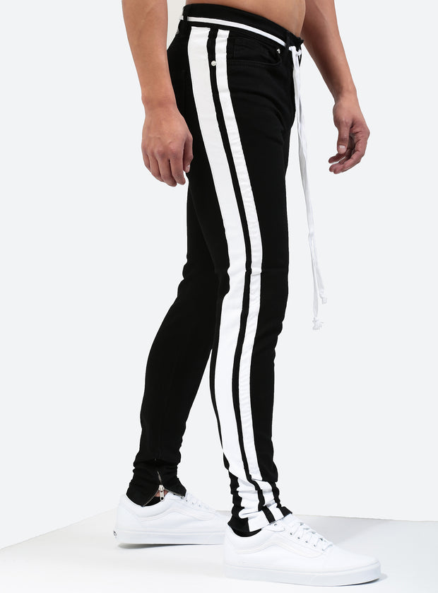 Double Striped Track Jeans V1 in Black and White