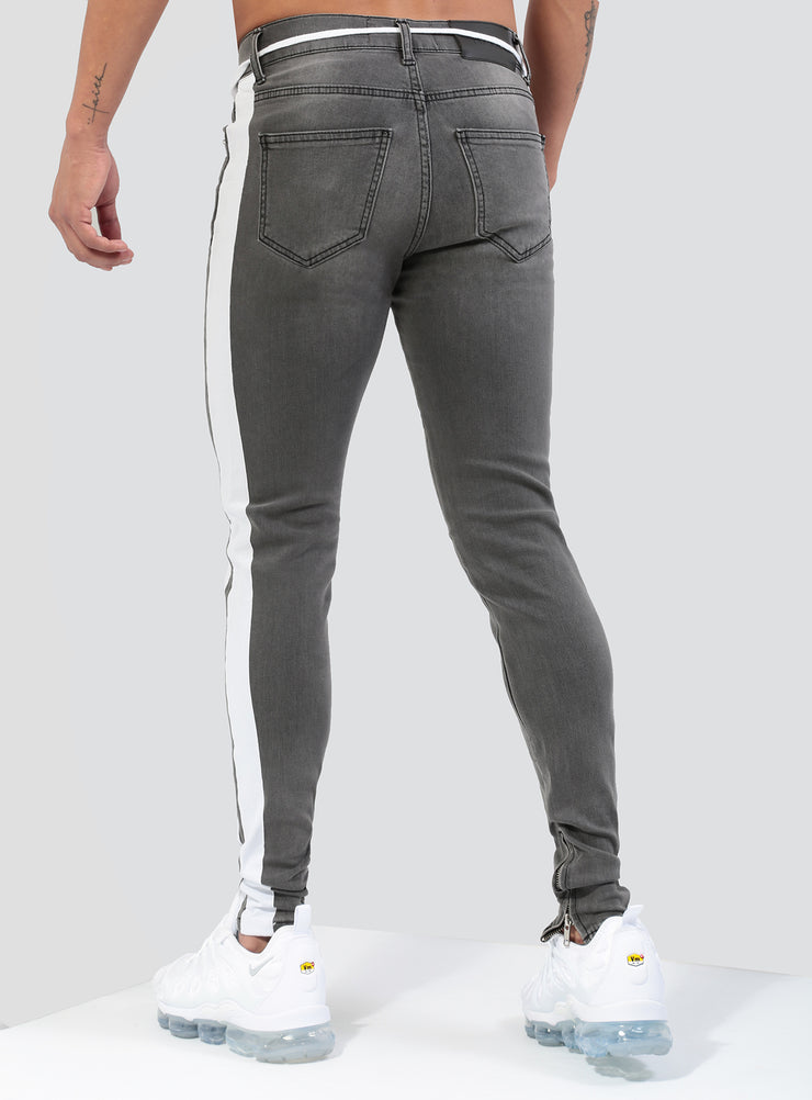 Double Striped Track Jeans V1 in Grey and White