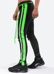 Double Striped Track Jeans V3 in Neon Green