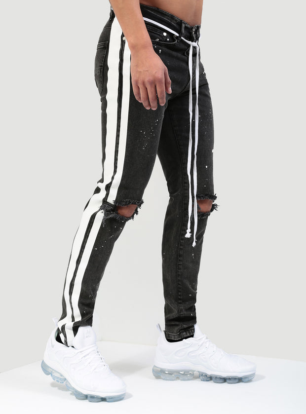 The Double Striped Track Jeans V3 in Acid Black and White