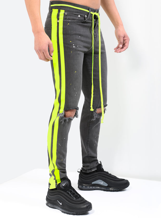 The Double Striped Track Jeans V3 in Neon Yellow