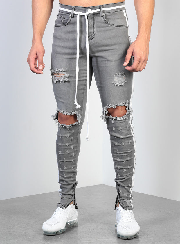 Double Striped Track Jeans V2 in Grey and White
