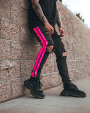 Double Striped Track Jeans V3 in Neon Pink