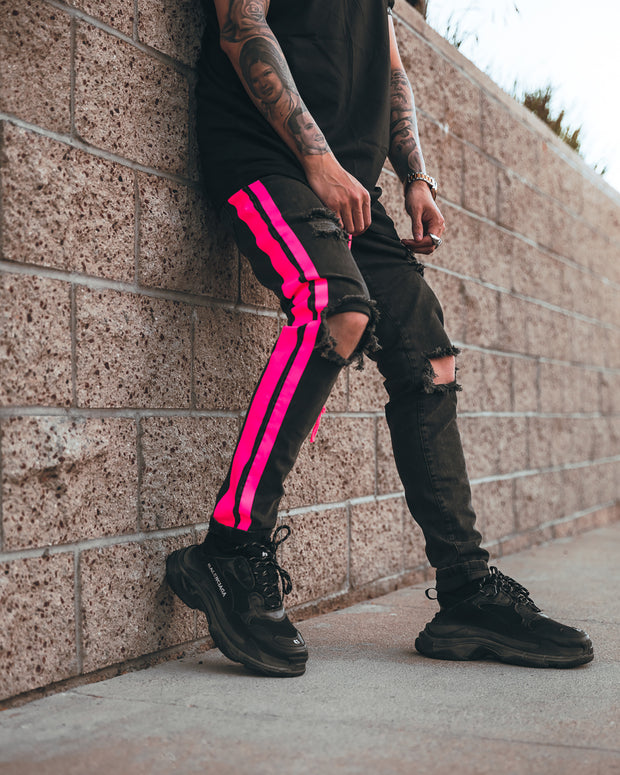 The Double Striped Track Jeans V3 in Neon Pink