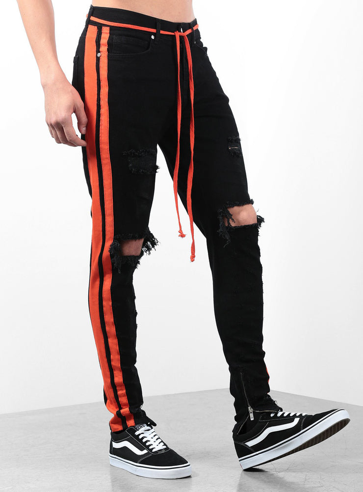 The Double Striped Track Jeans V2 in Black and Orange