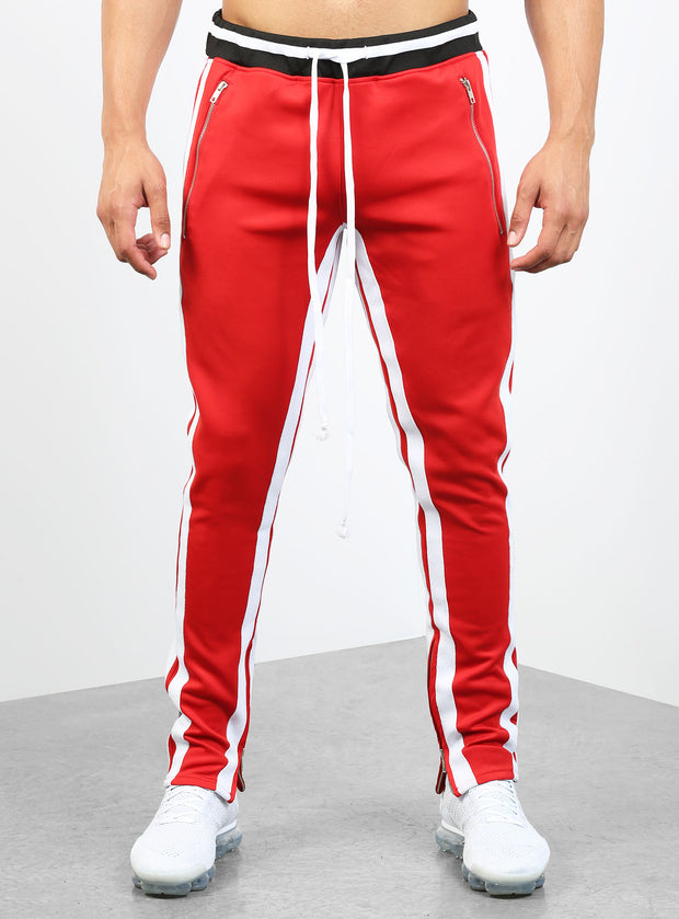 Double Striped Track Pants V2 in Red and White
