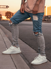 Camolteni x HXXD Snowfade Jeans in Blue