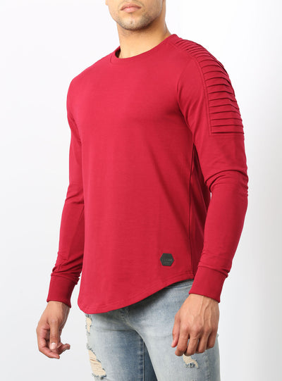 Camolteni x Tvtsim Triple Biker Long Sleeves T-shirt in Burgundy