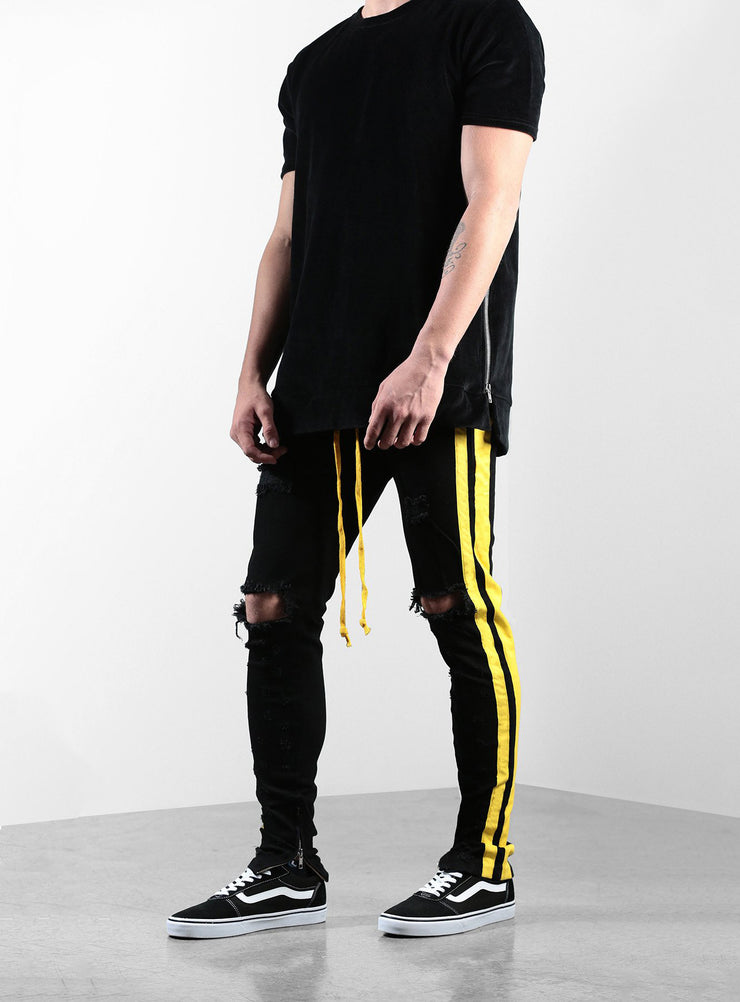 The Double Striped Track Jeans V2 in Black and Yellow