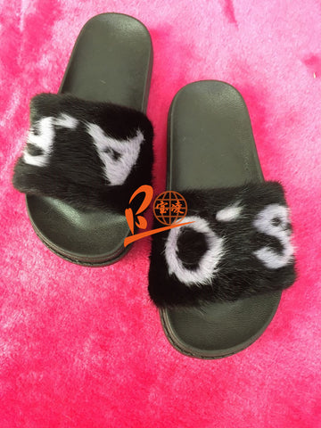 BLMPB Purple Black Mink Fur Slippers