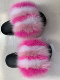 BLTF01 Rainbow Colorful Fox Fur Slides Slippers