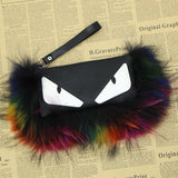 BLRMSH01 Raccoon Fur Monsters Shoulder Handbags