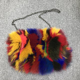BLFSH03 Mixed Color Fox Fur Shoulder Handbags