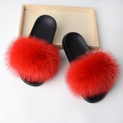BLFSR Small Red Fox Fur Slippers Slides