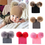 BLFH Baby Two Faux Fur Pompom Hats